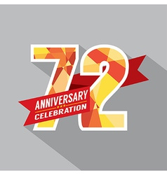 72nd years anniversary celebration design vector