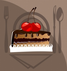 cake and cherry vector image