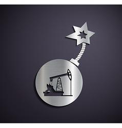 Flat metallic logo pump for oil vector