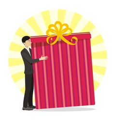 Men with great gift in hand vector image