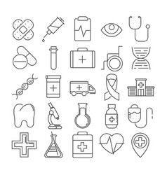 set of 16 line icons of medical theme vector image
