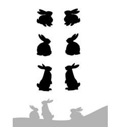 set of silhouette of rabbit vector image vector image