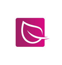 Square leaf ecology logo image vector