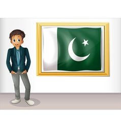 A man beside the framed flag of Pakistan vector image vector image