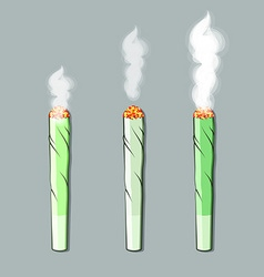 Burning roll-up with hemp in flat style vector