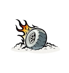 Car wheel with burning fire vector image
