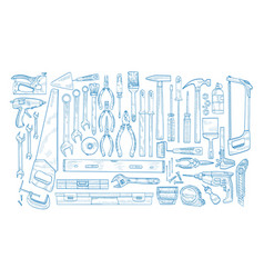 collection of manual and powered electric tools vector image
