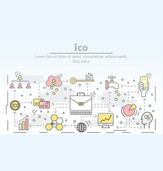 initial coin offering concept flat line art vector image