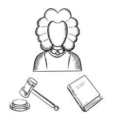 Judge gavel and law book sketches vector