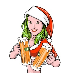 New Year Girl Beer vector image vector image