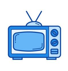 retro tv line icon vector image