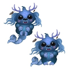 Two smiling blue monster with horns and big eyes vector image