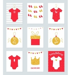 Christmas Baby Shower Invitations and Announcement vector image
