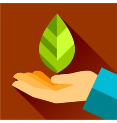 hand and leaf nature conservation The graphic vector image