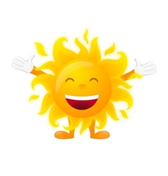 Happy sunny character isolated on white background vector image