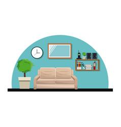 living room sofa pot tree clock cabinet book vector image