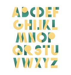 Retro font in green and yellow Beige alphabet vector image vector image