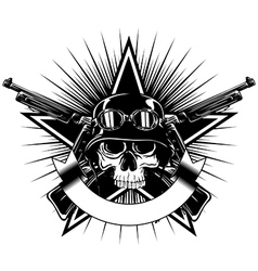 skull in goggles and helmet star and crossed vector image