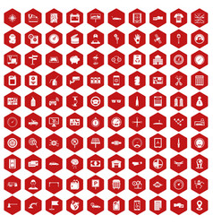 100 auto repair icons hexagon red vector image