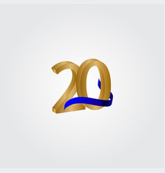 20 years anniversary celebration number gold vector