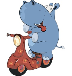 A little hippopotamus and a red motor scooter vector image