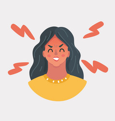Angry girl face vector