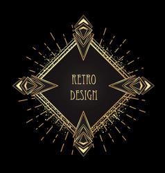 art deco vintage gold patterns over black frames vector image
