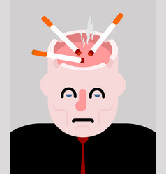 Ashtray head open cigarettes and smoke harm to vector