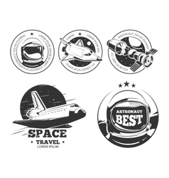 Astronautics labels badges and emblems vector image