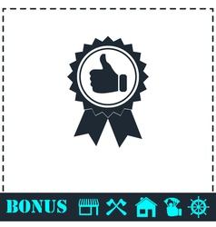 Banner ribbon Thumb up icon flat vector