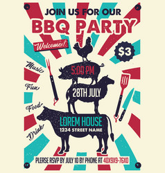 bbq party poster with chicken pig sheep cow vector image