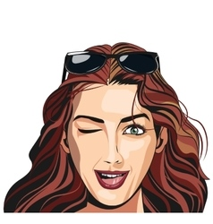 beautiful girl winking sunglasses vector image