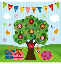 Birthday snail under the tree vector