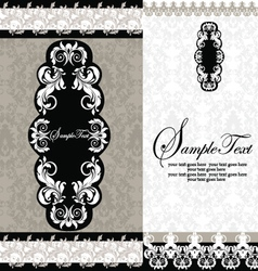 Black and White Damask Wedding Invitations vector image