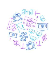 blockchain thin line graphic round design template vector image