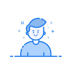 Blue icon in flat line vector