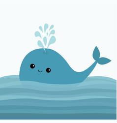 Blue whale and fountain sea ocean water vector