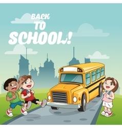Bus kids back to school design vector