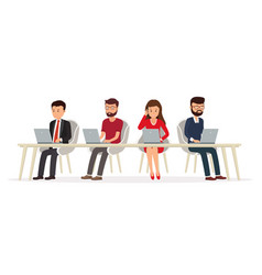 business people behind a desk working on a laptop vector image