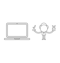 Businessman character with laptop computer and vector