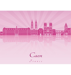 Caen skyline in purple radiant orchid vector image