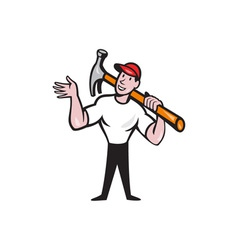 Carpenter Builder Hammer Cartoon vector