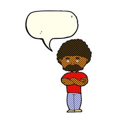 cartoon dad with folded arms with speech bubble vector image