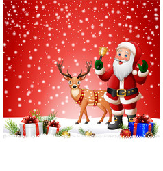 Christmas background with santa clause ringing bel vector