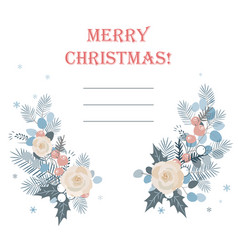 christmas frame made of fir branches roses vector image