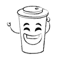 coffee in plastic cup kawaii character vector image