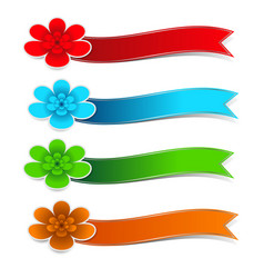colorful flower paper with ribbons on white vector image