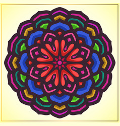 Colorful mandala art with floral motifs vector