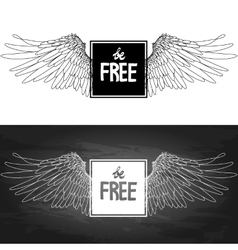 Concept art with slogan and wings vector image