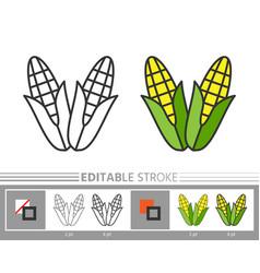 corn thanksgiving day linear icon editable stroke vector image